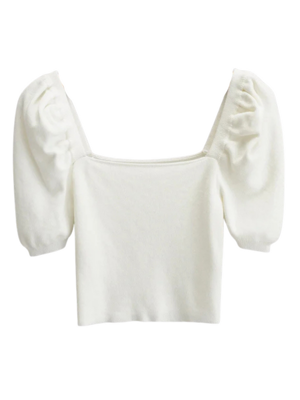 'Hadasa' Square Neck Puff Sleeves Knit Top (3 Colors)