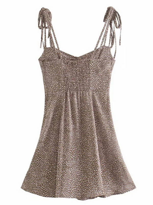 'Courtney' Animal Printed Tied Strap Mini Dress