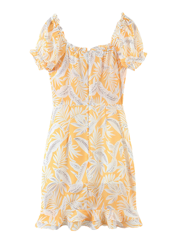 'Christie' Floral Printed Drawstring Mini Dress