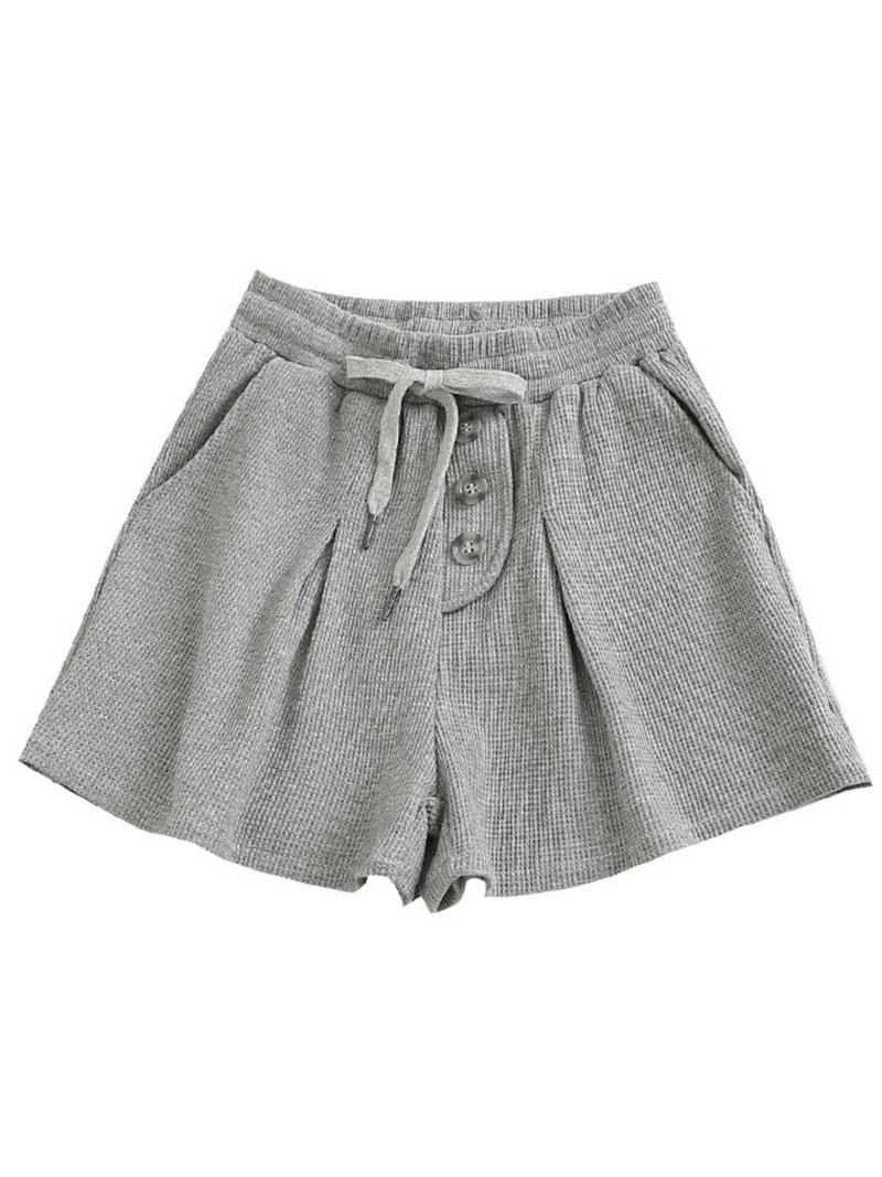 'Eleesha' Waffle Buttoned Drawstring Shorts (4 Colors)