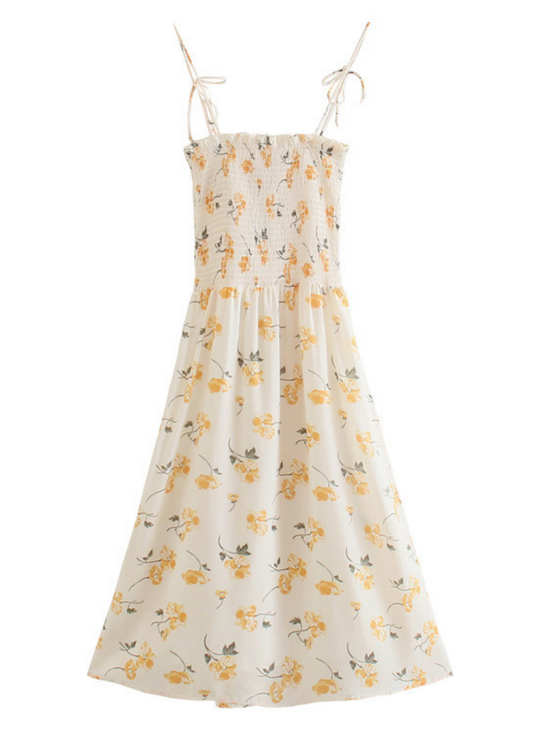 'Olivia' Floral Printed Ruched Maxi Dress