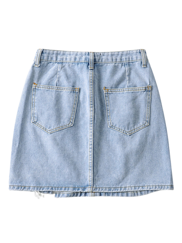 'Marianne' Distressed Denim Skirt (3 Colors)