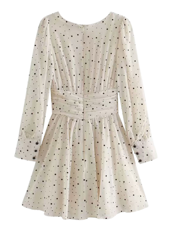 'Elysse' Polka Dot Tie Waist Mini Dress