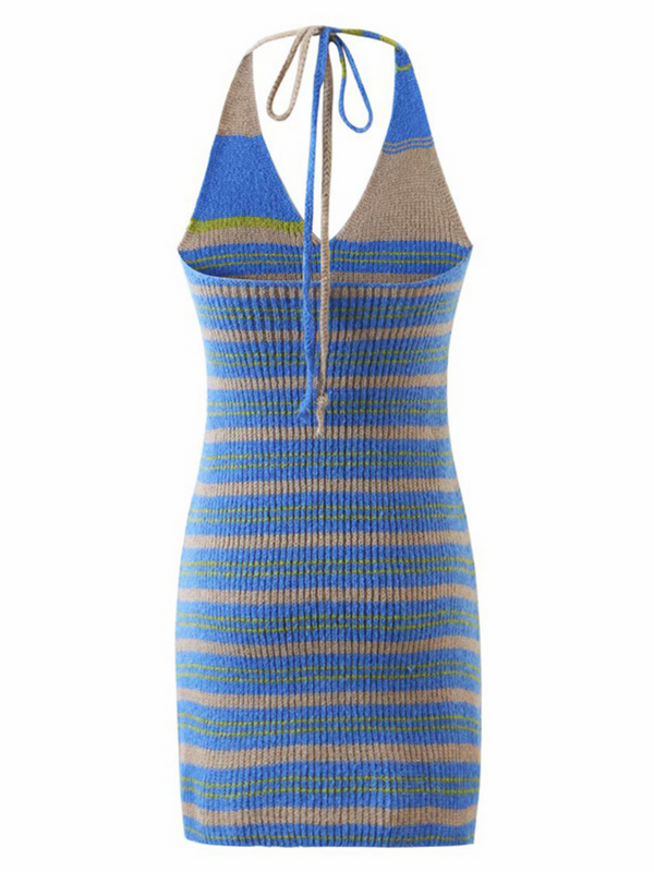 'Eleanor' Halter-neck Striped Knitted Mini Dress