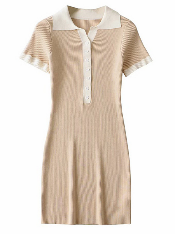 'Marleen' Polo Buttoned Mini Dress (2 Colors)