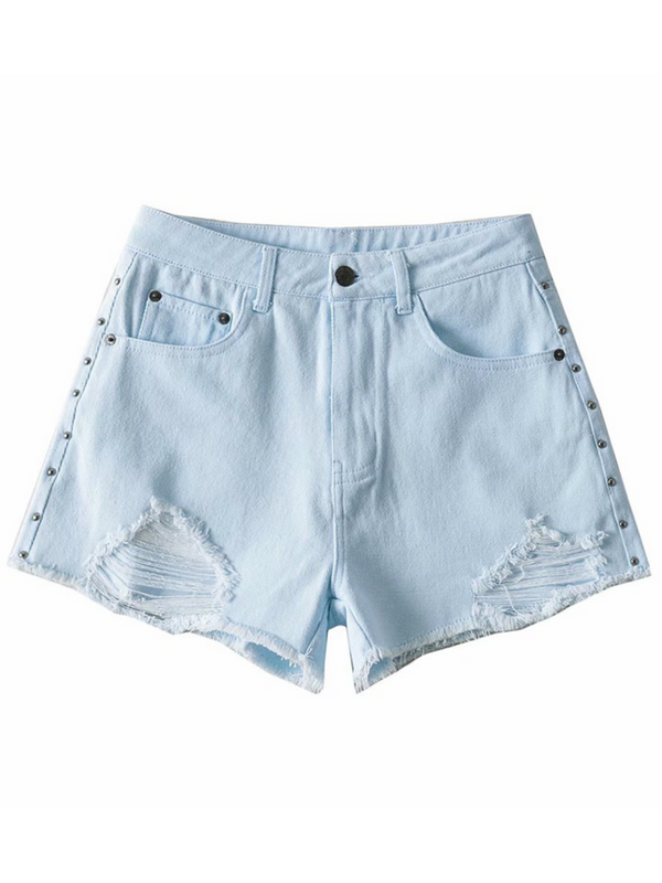 'CiCi' Metallic Distressed Shorts (4 Colors)