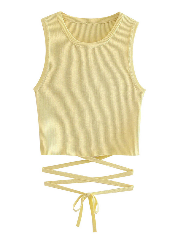 'Avery' Ribbed Cropped Top With Ties