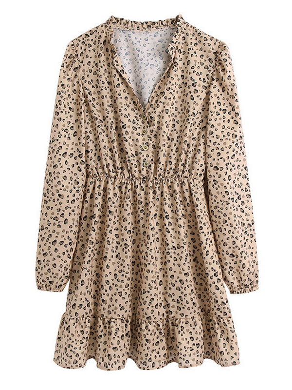 'Payge' Leopard Printed Ruffled Collar Mini Dress
