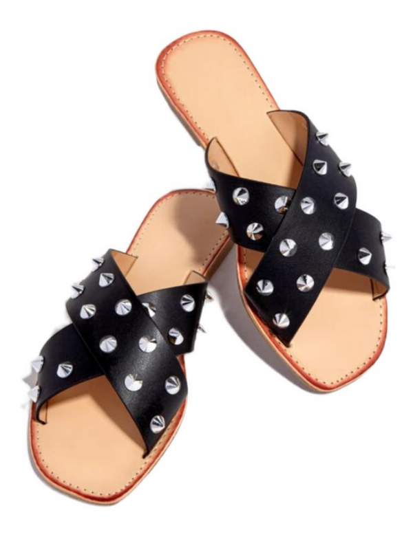 'Imogen' Studded Criss Cross Sandals (3 Colors)