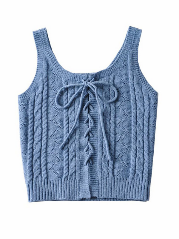 'Madison' Cable Knit Lace-up Tank Top (5 Colors)
