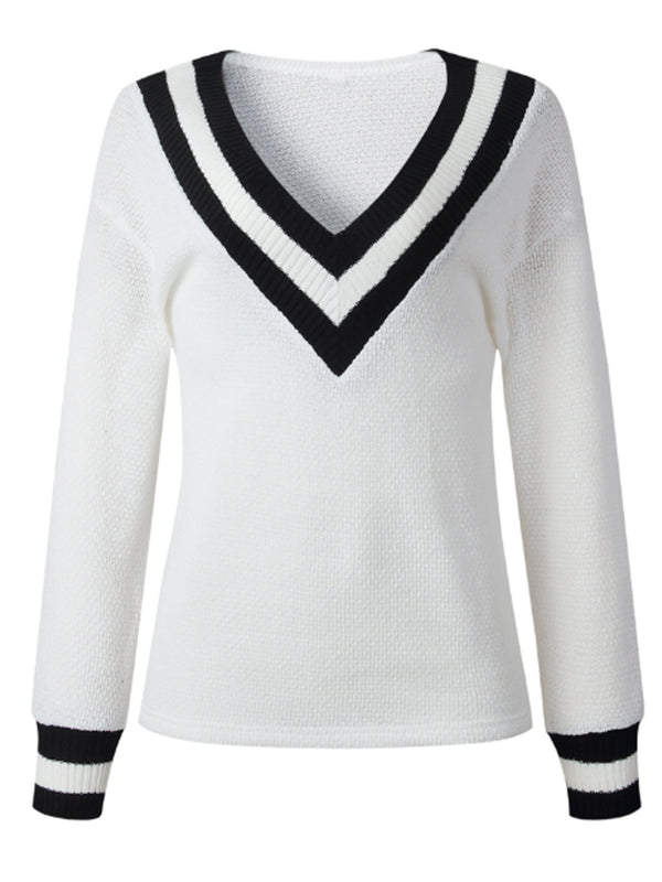 'Lauren' V-Neck Pullover with Stripe Detail (3 Colors)