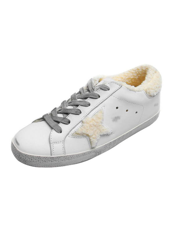 'Vanessa' Star Distressed Sneakers with Fleece Lining