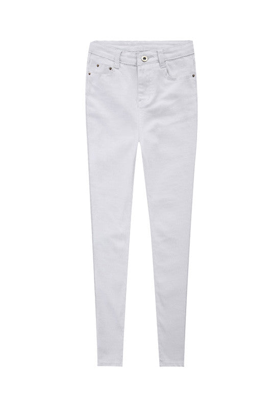 'Blanc' High Rise White Skinny Ankle Jeggings Jeans - Goodnight Macaroon