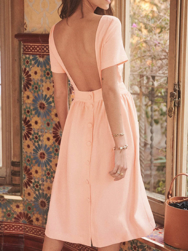 'Isla' Open Back Waist Button Midi Dress