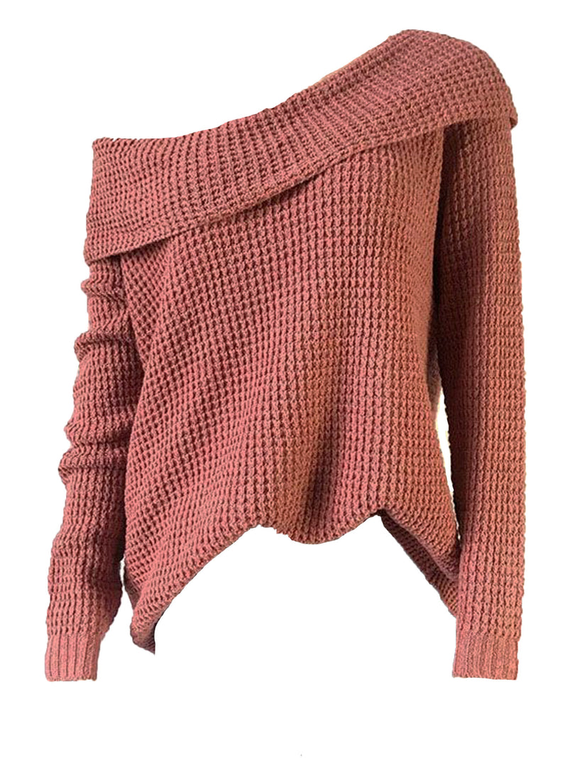 'Edry' Fold Over Off-the-Shoulder Slouchy Sweater (5 Colors)