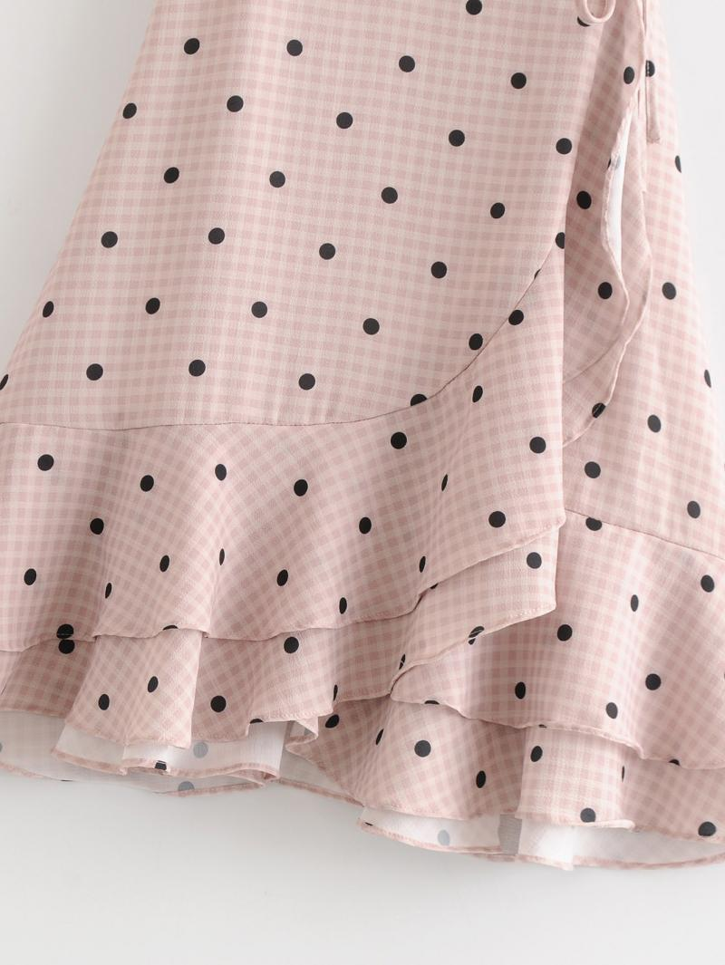 Goodnight Macaroon 'Wailoa' Polka Dot Gingham Wrap Midi Dress Skirt