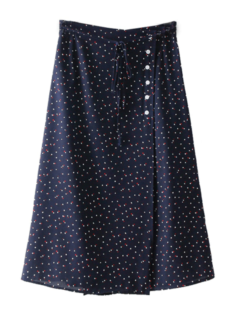 'Catelyn' Button Front Tied Dotted Midi Skirt