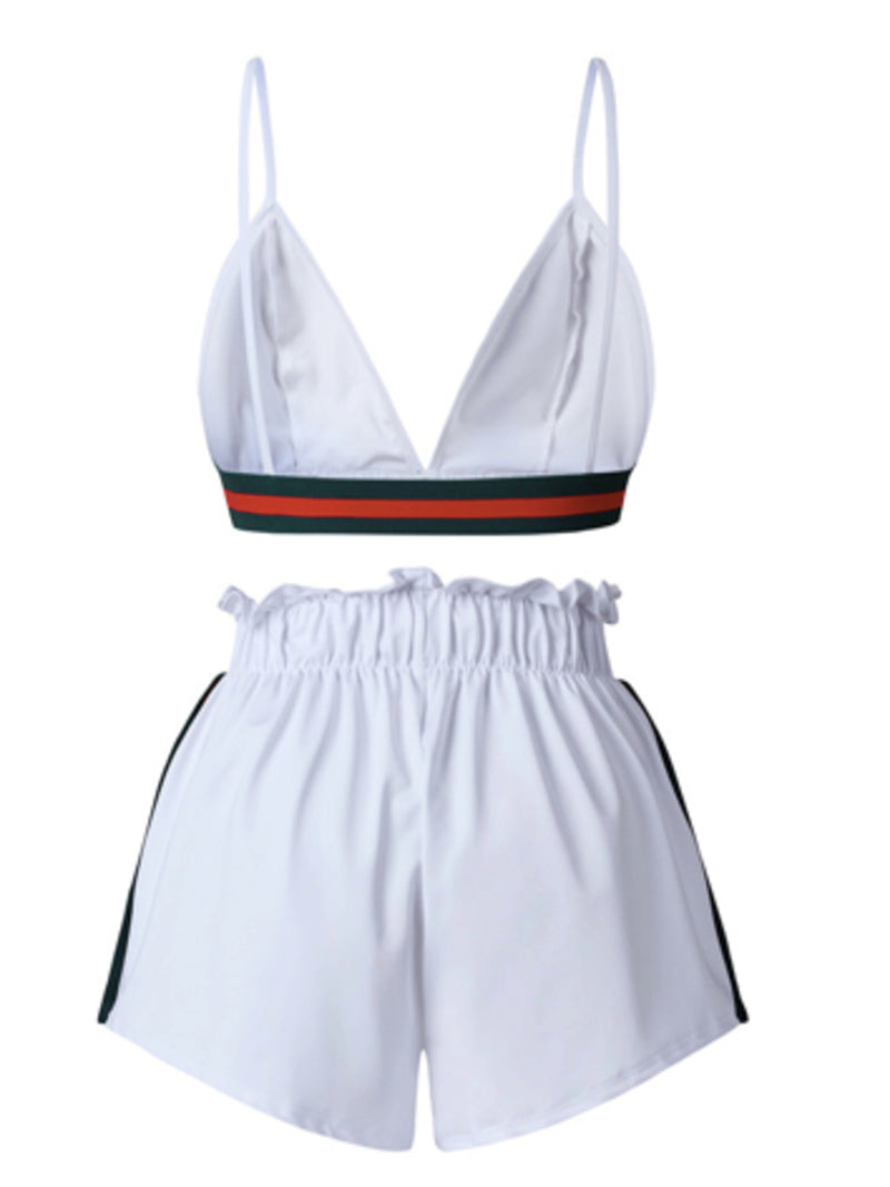 'Brienne' Color Block Strapped Bralette Top Shorts Set (2 colors)