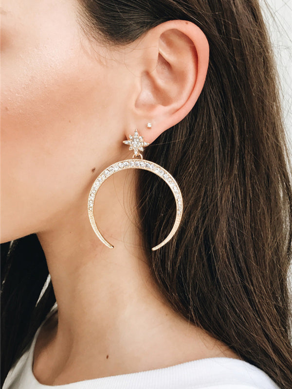 'Dazzy' Crescent Drop Half Moon Earrings