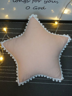 'Star' Pom Pom Trim Cushion