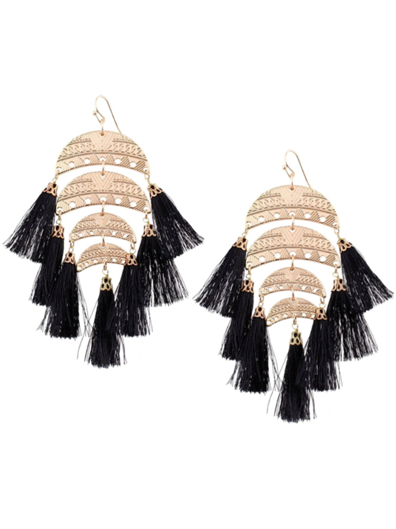 'Badriyah' Half Moon Tassel Drop Boho Earrings