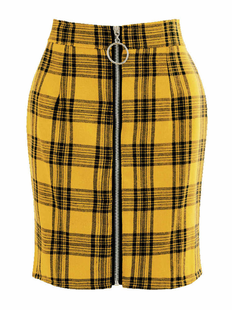 'Paula' Plaid Front-Zip High Waisted Mini Skirt