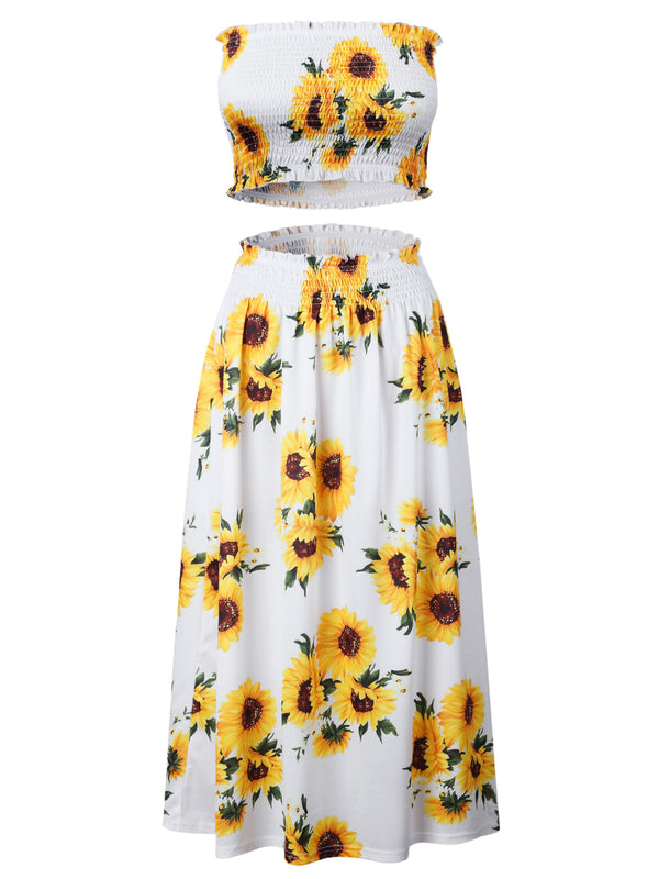 'Sansa' Floral Tube Top & Midi Skirt Set