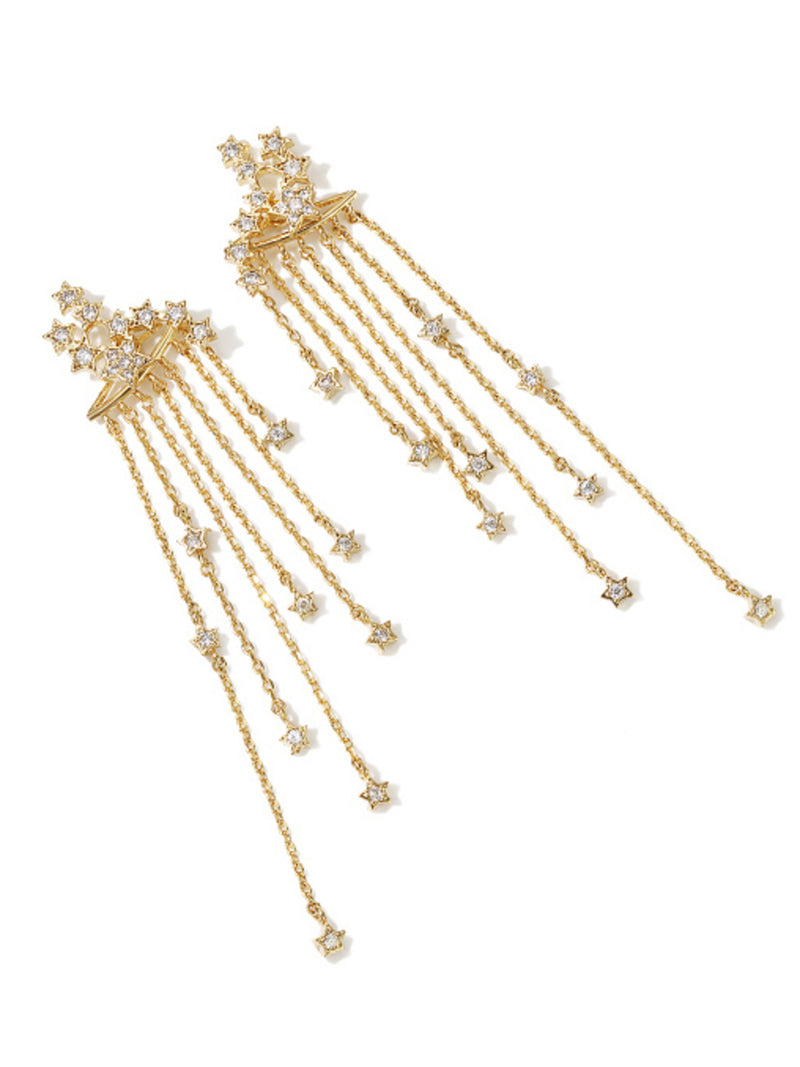 'Zeke' Celestial Rhinestone Star Drop Earrings