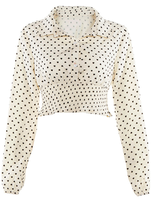 'Keira' Heart Print Cropped Blouse