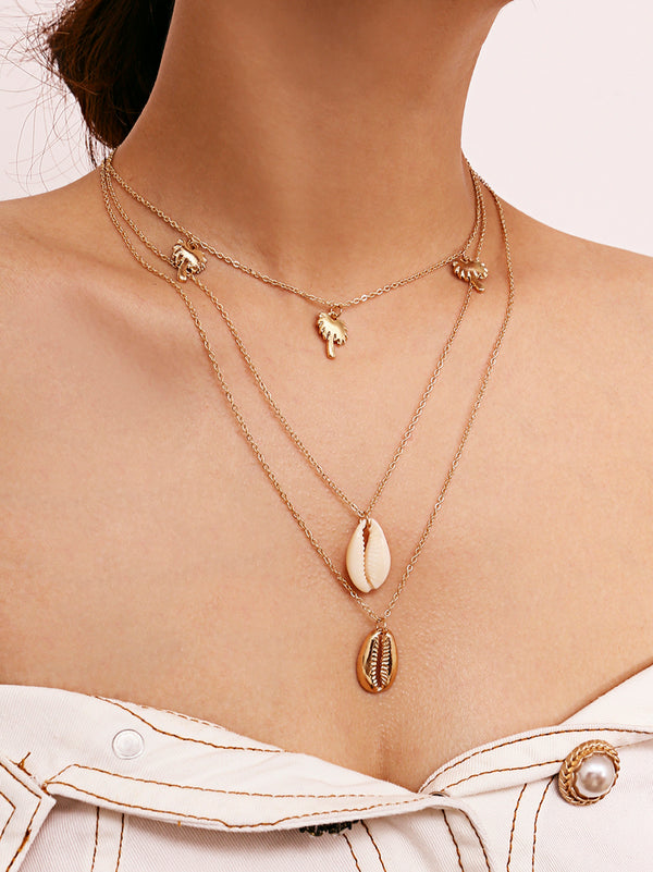 'Shell' Palm Tree and Shell Layered Necklace (2 Colors)