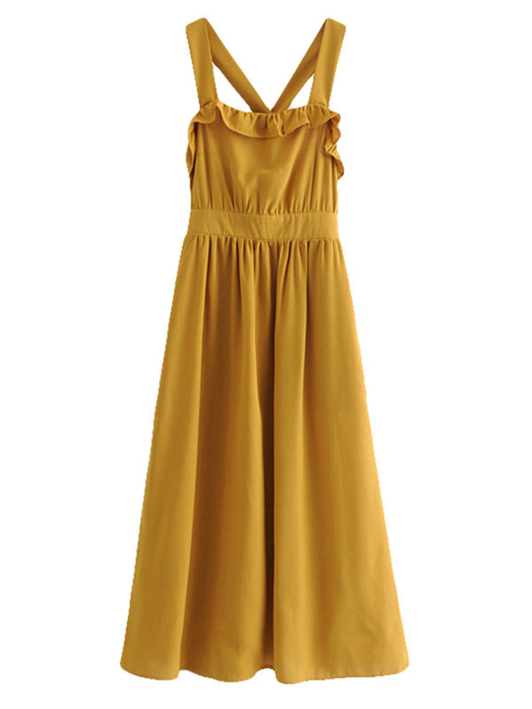 'Tawnia' High Waisted Back Tied Maxi Dress