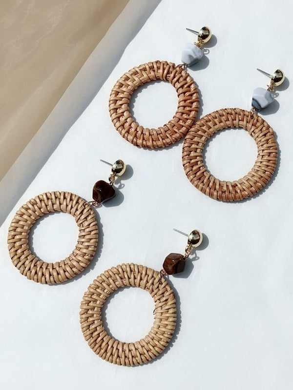 'Shuri' Marble Rattan Statement Earrings