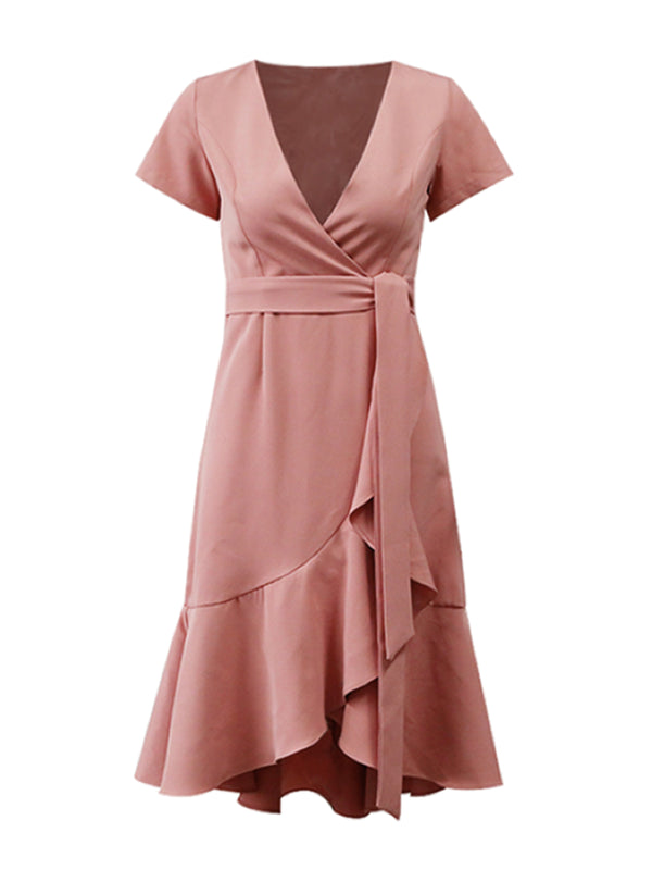 'Carmen' Front Tied Flare Midi Dress