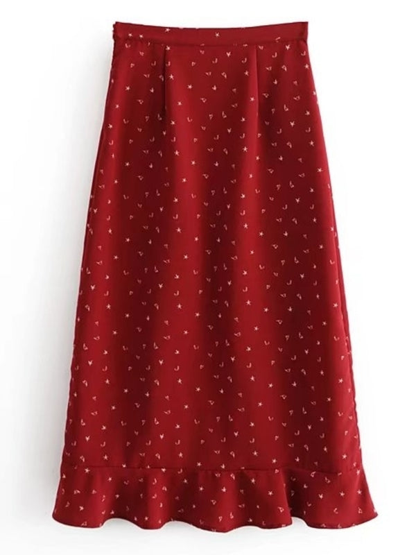 'Zelda' Heart Moon Star Ruffled Midi Skirt