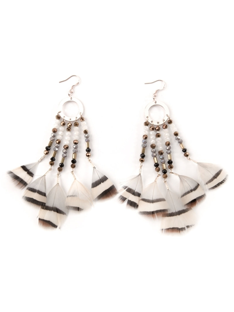 'Fantine' Boho Feather Drop Beaded Earrings