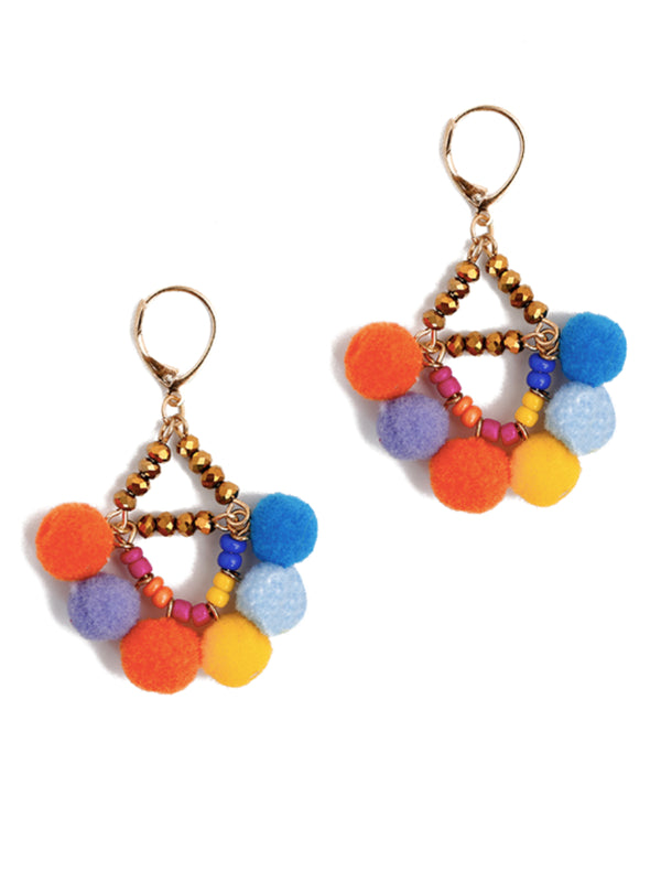 'Sarocha' Rainbow Pom Pom Drop Earrings