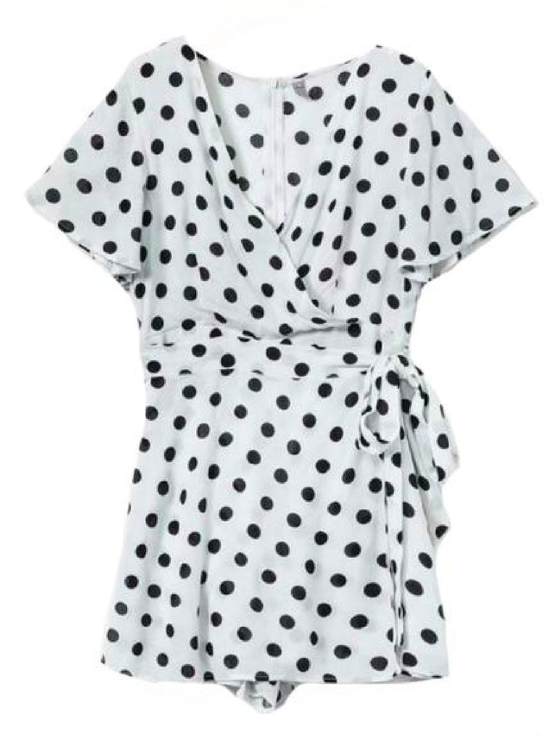 'Wendy' Polka Dot Waist Tied Wrap Dress (2 Colors)