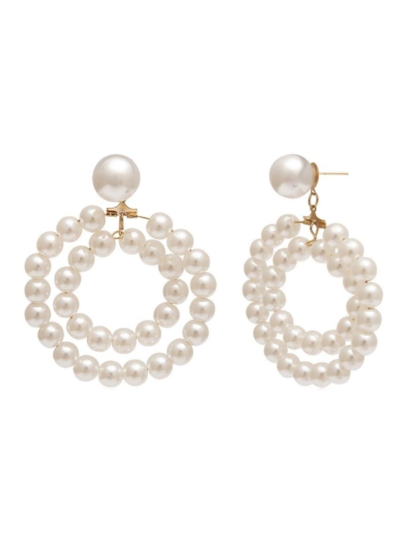 'Jaclyn' Double Pearl Hoop Earrings