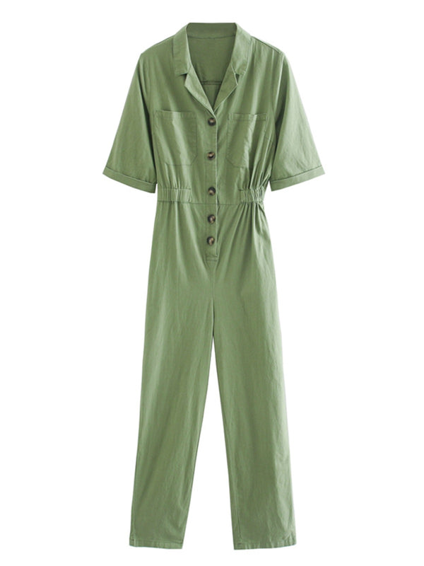 'Alexandria' Buttoned Jumpsuit With Pockets (2 Colors)