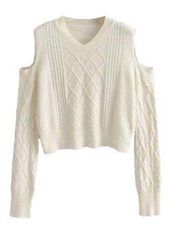 'Nicole' Cable Knit Cut-out Shoulder Sweater (2 Colors)
