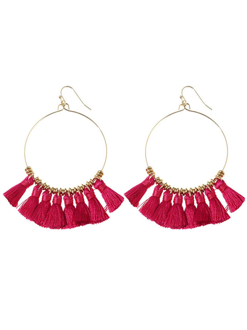 'Angelina' Boho Tassel Hoop Earrings (5 Colors)