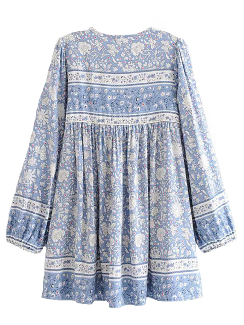 'Katie' Bohemian Print Blue Tassel Dress