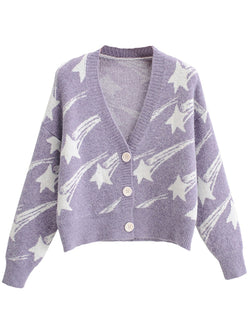 'Odessa' Star Print Button Down Cardigan