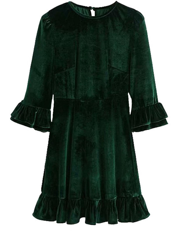 'Noel' Velvet Ruffled Mini Dress