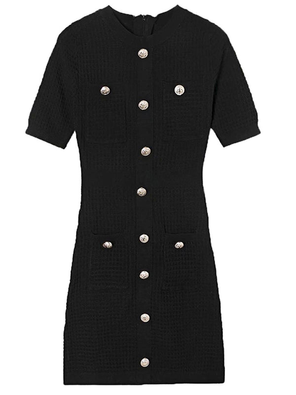 'Ginny' Crewneck Buttoned Knit Mini Dress