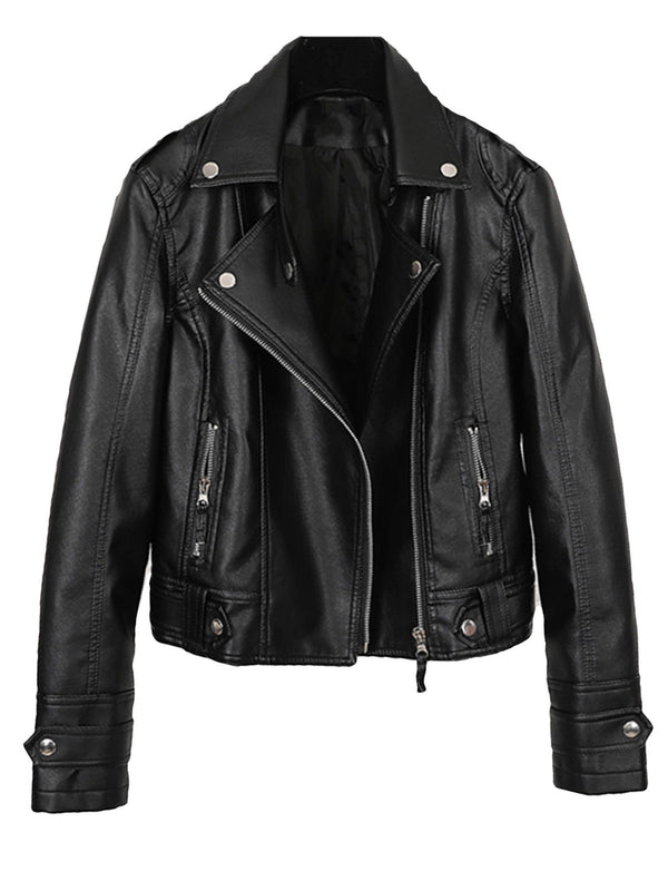 'Elva' Faux Leather Biker Jacket (2 Colors)