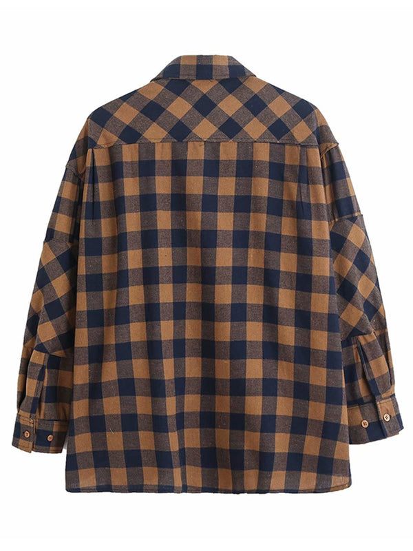 'Cassandra' Brown and Navy Checked Shirt