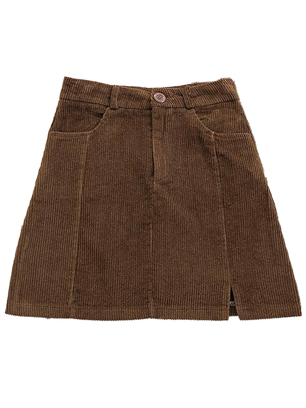 'Jane' Corduroy Mini Skirt with Slit (4 Colors)