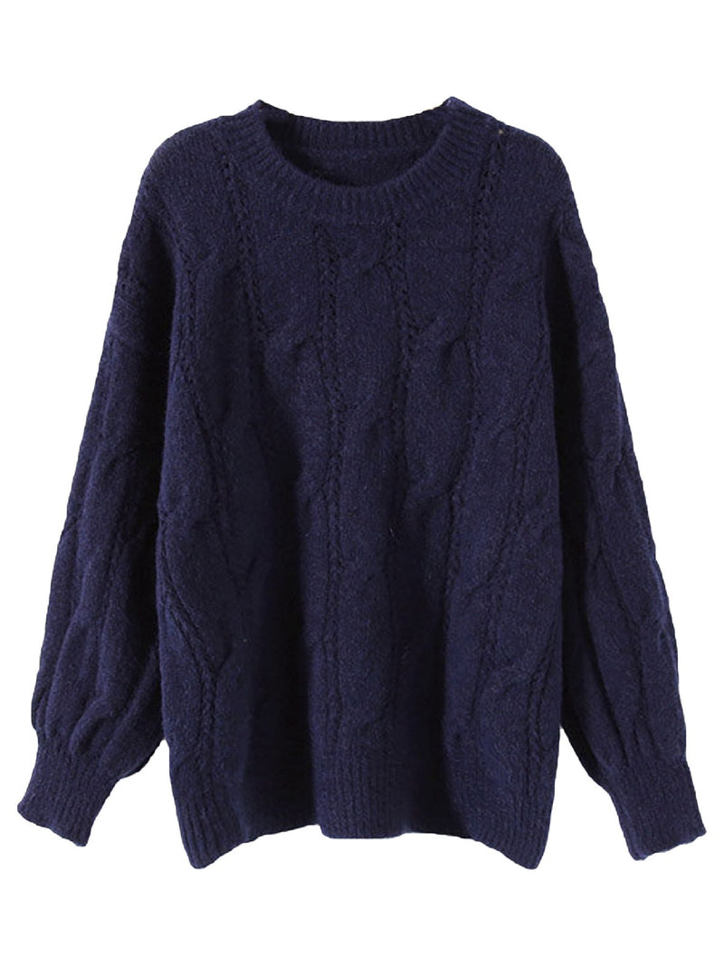 'Selina' Crewneck Lantern Sleeves Cable Knit Sweater (5 Colors)