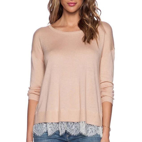 Pink Jersey White Lace Mock Layer Sweater